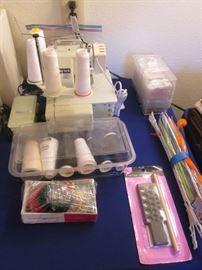 "Vintage ""Baby Lock"" Serger # 605.  Lots of Sewing Supplies!"