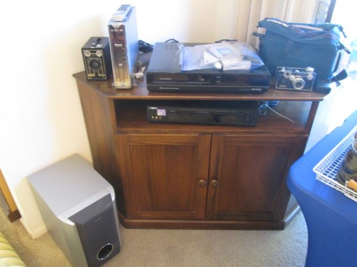 CornerTV Stand, 1-Shelf and Lower Storage + Variety of Smaller Electronics & Cameras