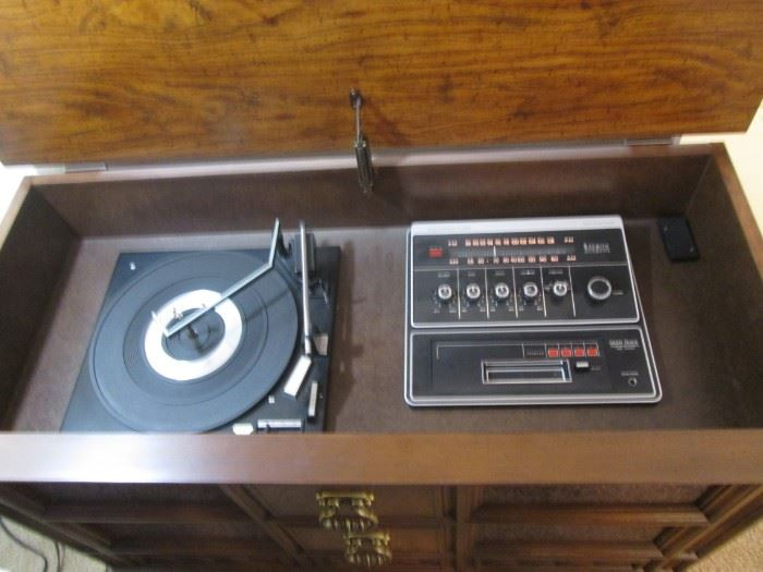 Interior View:  Zenith Turntable, AM/FM Radio and           8-Track Player