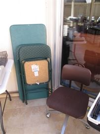 Table, Bridge Chairs and Secretarial Chair