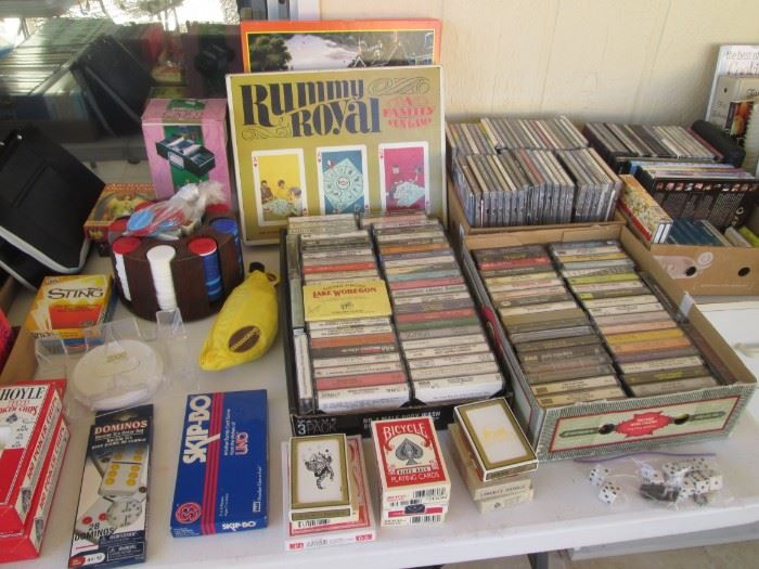 Cassettes, CD's, VHS's, Games, Cards