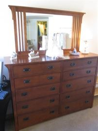 """Presidio High-Profile Dresser/Mirror, Mission Style by Broyhill,   66"""" X 19"""" X 44"""" high; Excellent Condition"""