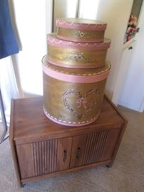 Rolling Cart + 3- Wood Boxes Decorated Set