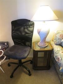 End Table and Table Lamp.  Secretarial Chair