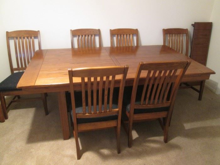 """Matching Timberline Table 42"""" x 72"""" with an additional 12"""" leaf; 6 chairs."""