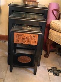 Vintage Oriental nesting table w/ soap stones & glass top.