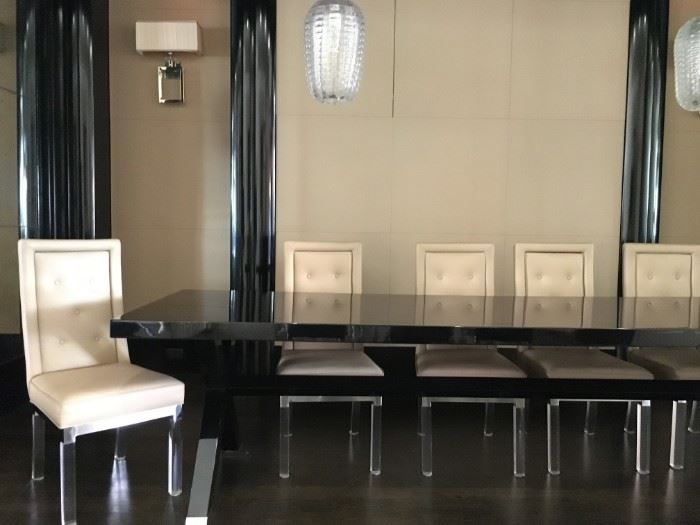 1) Lorin Marsh Custom X Base Dining Table in High Gloss Black Finish with Polished Nickel Sabot