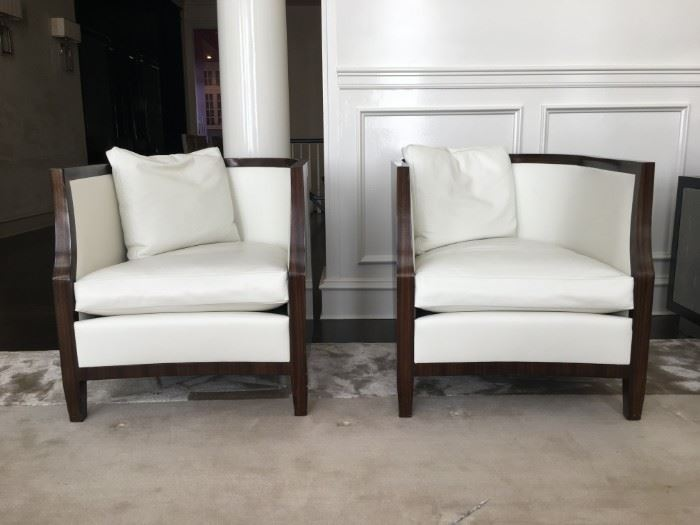 17) Dessin Fournir/Gerard Sterling John-Michel Frank Style Barrel Back Armchairs, PAIR. Full Grain Hide Leather in Dead White.