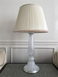 "18) SET of THREE, William Switzer/Steve JEnsen Capistrano Table Lamps, 40"". Murano Clear Glass with Silver Flecks. Custom Silk Shades with Catepillar Fringe."