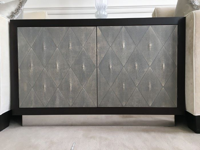 14) Shagreen Double Door Cabinet with Polished Nickel Base