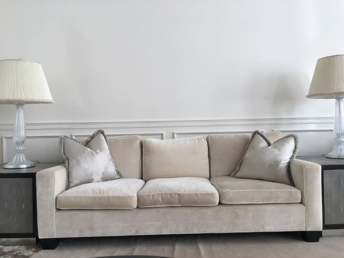 13) Henry Chan Custom Built Jean-Michel Frank Square Arm Sofa in 100% Linen Pile Velvet with Cow Hide Detail