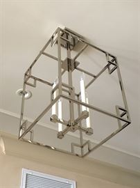 4) Polished Nickel Lantern Style Hall Light Fixture