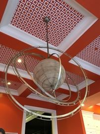 5) Armillary Chandelier in Tarnished Silver Leaf Finish from Jack Rosselli/David Latesta