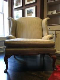 "23) Upholstered Wingback Armchairs in Ralph Lauren ""Foxberry Plaid"""