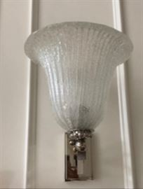 "7) Lorin Marsh ""Pulegoso"" Vase Shaped Crystal Sconces with Brushed Nickel Wall Mounts"