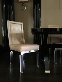 2) TEN Charles Hollis Jones Lucite Side Chairs with Top Grain Leather Seat and Back