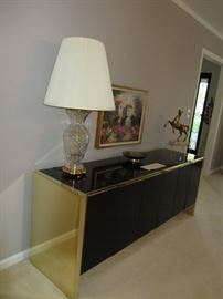 Glass base Table Lamp, Brass Side Table