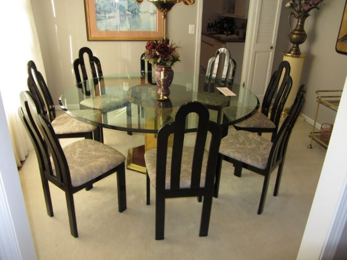 Glass Top Dining Room Table with 8 chairs