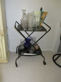 Rolling Tea Table/Drink Cart, Various Cut Glass bottle,