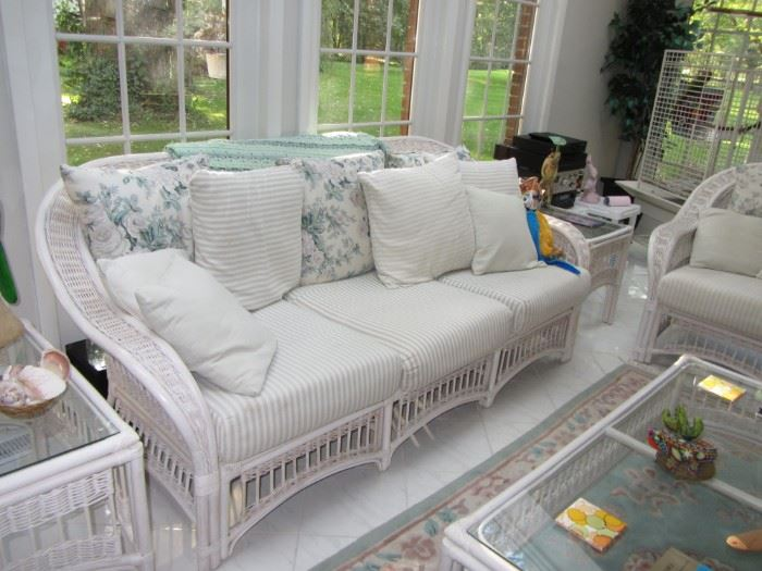 Wicker Patio Sofa and Side Tables and Coffee Table