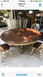 Haberdashery Type 72 inch Round Table with 4 chairs -very good condition