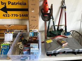 Truck extender, Black & Decker hedge trimmer, Coleman two burner stove