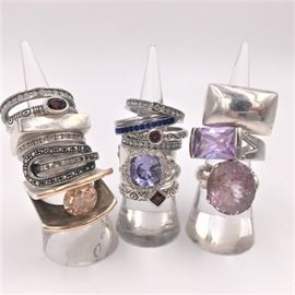 Rings! Sterling silver, garnet, marcasite and more, including a sterling and 14K Plodowski (lower left). Many stackable bands.