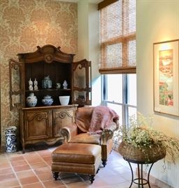 Antique pine buffet Louis XV France circa 1800. Carved Pine, two carved glazed doors atop carved panel doors.  Leather Chair and Ottoman