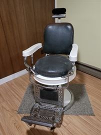 Theo A Kochs  Vintage Barber's Chair and Tom Thumb Child's Booster Seat