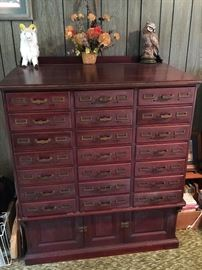Antique card catalog—oak but stained in mahogany.