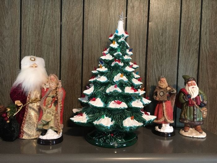 One of three vintage lighted ceramic Christmas trees!