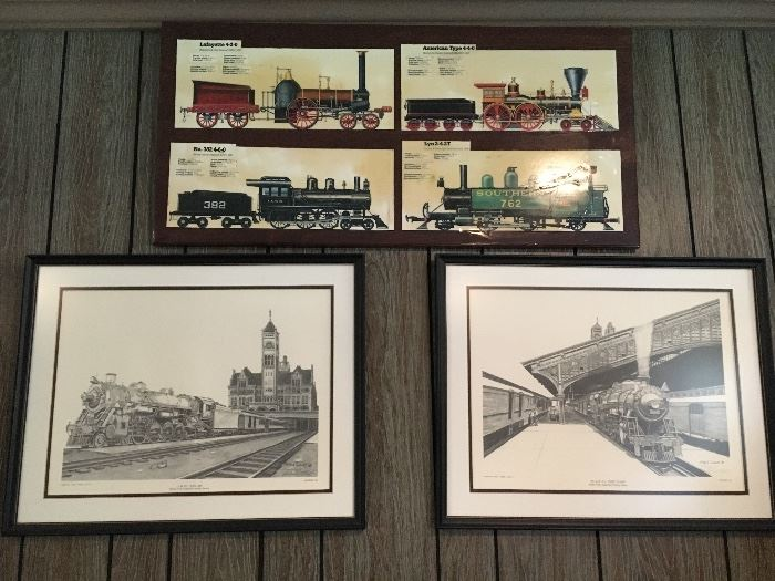 Vintage wall decor, train-themed, print on right is signed and numbered by Roland Talbots.