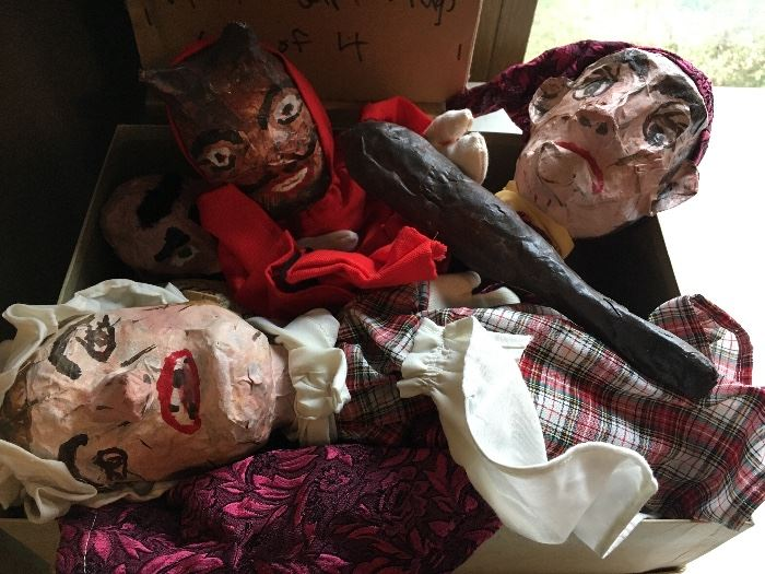 Handmade paper mache puppets and parts to make more. (Not so scary in person!)