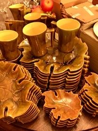 Large set of vintage Leaf-themed dishes and mugs, handmade ceramics.
