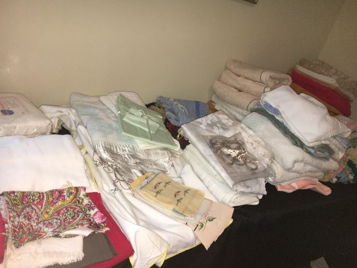 Household linens, some  intage, some new in packages.