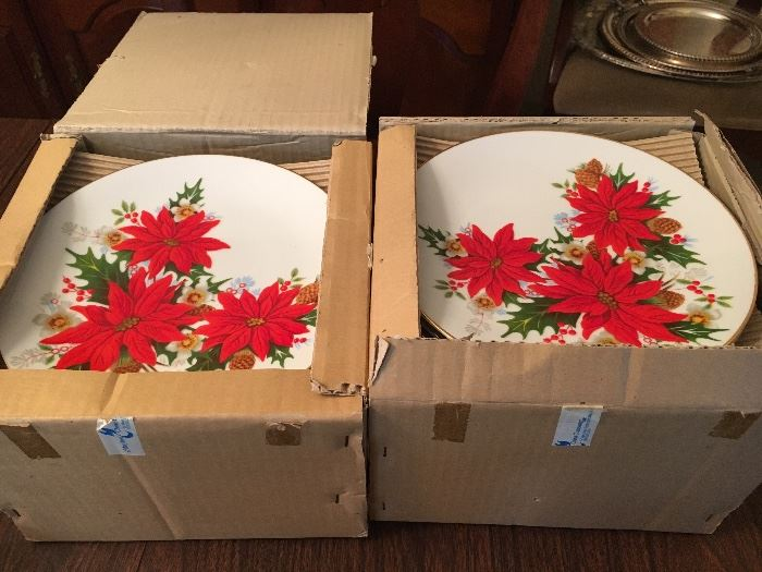 Vintage, unused and still in boxes—beautiful poinsettia Christmas plates.