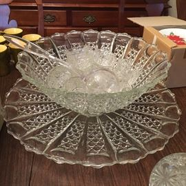 Large vintage punch bowl with 12  ups and underplates.