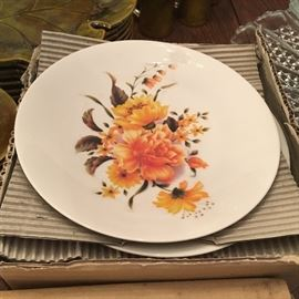 Vintage, unused and boxed—floral plates.