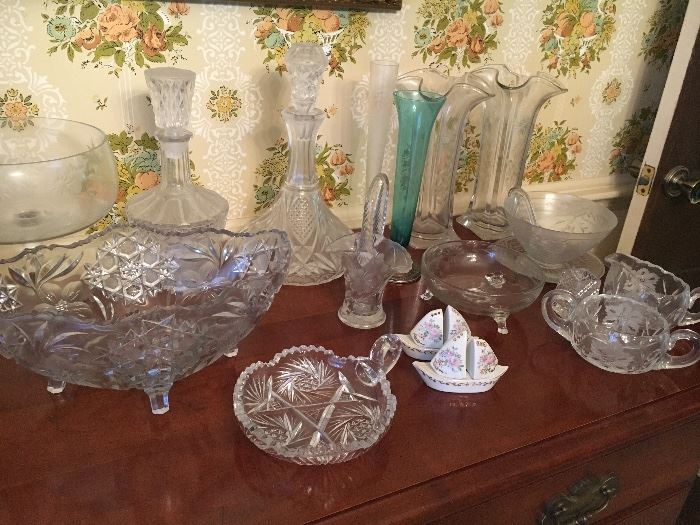 Lovely vintage glassware—cut glass, pressed glass, decanters.