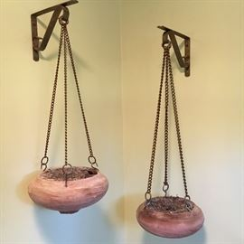 Pair of hanging pots.