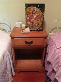 Vintage maple nightstand, 2 twin beds.