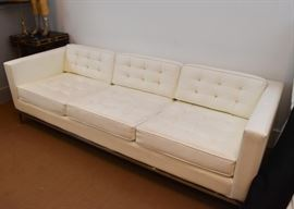 Vintage White Tufted Sofa with Chrome Base (Faux Leather)
