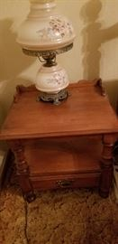 Tell City night stand with painted lamp