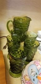 Great green pitcher and glasses