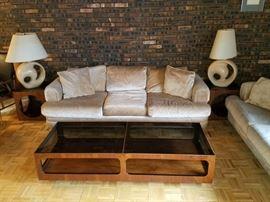 Matching sofas. Mid century modern Lane smoked glass coffee table