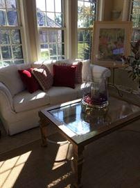 Sofa has neutral textured fabric!