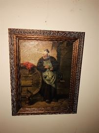 Small oil painting of a wine making monk