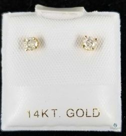 14k Yellow Gold Diamond Earrings .18ct