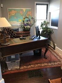 #110.     Pickled wood Desk                                   with leather top inserts             $950.