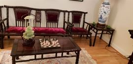 Rosewood Chinese Sofa, chairs, end tables, coffee tables